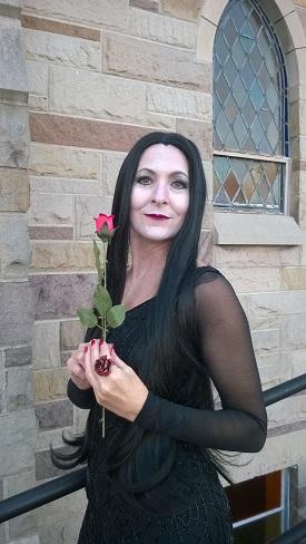 Morticia Addams played by Debbie Grattan